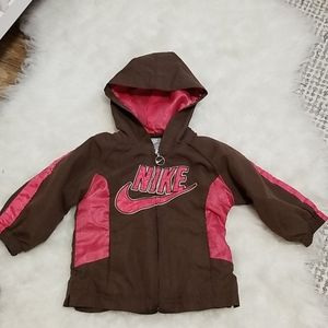 ❣ Nike hooded light jacket pink/ brown sz.12m
